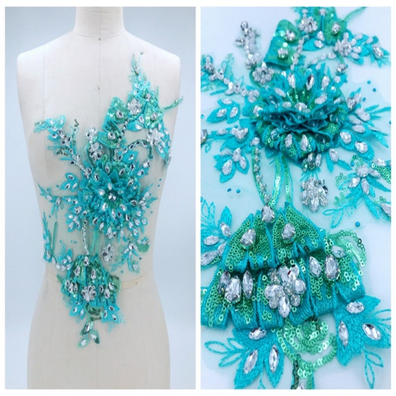 Diamante Vintage Style Crystal Applique Patch With Green Lace For Sewing Gowns