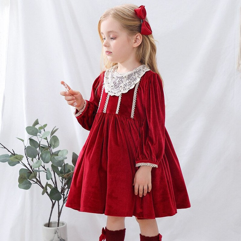 Red Velvet Baby Grils Party Dresses Princess Ball Gown Kids Clothes Lace Lantern Sleeve Children Clothes Solid Toddler Dress