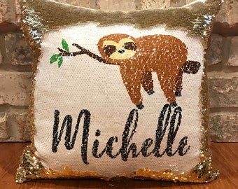 ea9879eb571 Personalized Sloth Mermaid Sequins Pillow   Reversible Sequins Pillow    Sloth birthday gift   Funny lazy person gift   Cute sloth gift