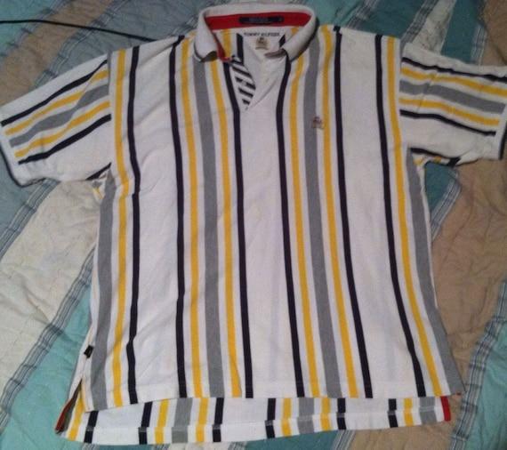 05f1f3ca Vintage vtg 90s Tommy Hilfiger Striped Polo Shirt XL Sport | Etsy