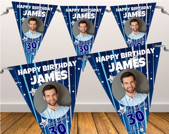 Personalised Happy Birthday PHOTO Flag Banner Bunting with ribbon N25 (10 Flags ) Mens Boys Hanging Decoration 18th 21st 30th 40th Any Age