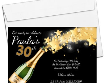 10 Personalised Champagne Starburst Birthday Party Invitations N191
