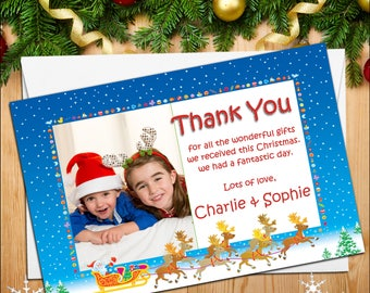 Personalised Christmas Xmas Thank You Photo Post Cards Notes N31 for Kids Girls /& Boys ~ Pack of 10