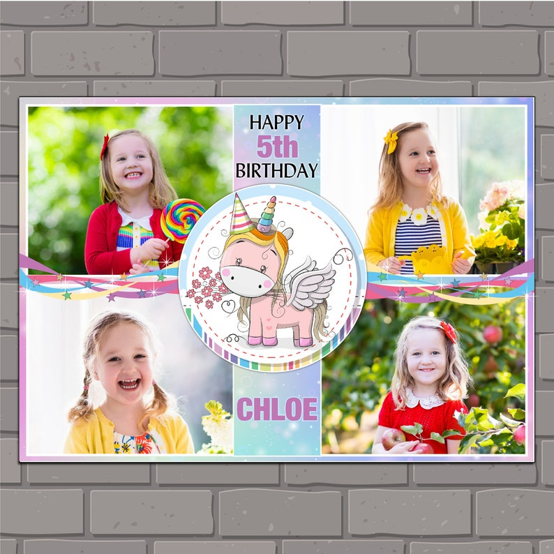 Personalised Blue Balloons Happy Birthday Poster Banner N117 ANY AGE