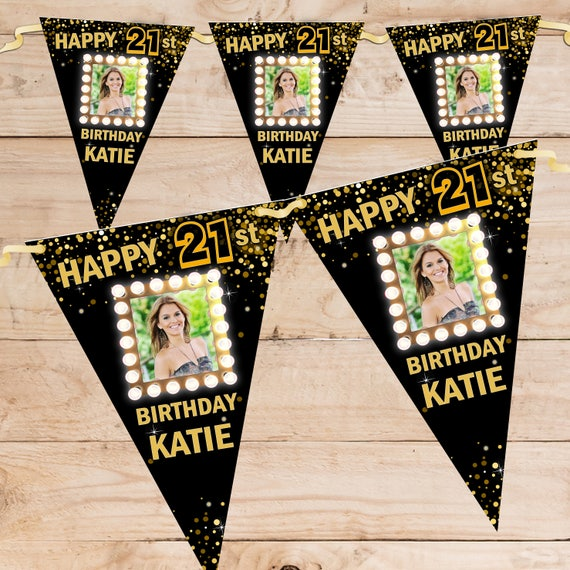 Personalised Happy Birthday Flag Banner Bunting N47 18th 21st 30th 40th Any age