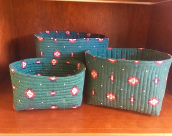 Set of 3 Quilted Nesting Baskets, Mothers Day Gift Set