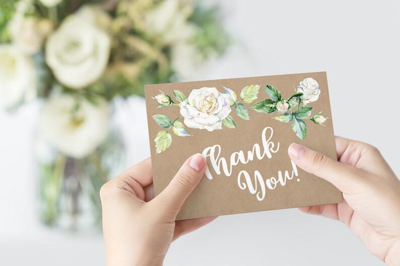 Thank You Card Printable Card Rustic Floral Card Digital Item Wedding Thank You