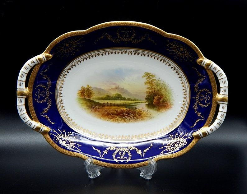 A Coalport Dessert Dish Hand painted /'Dover Castle/' Pattern