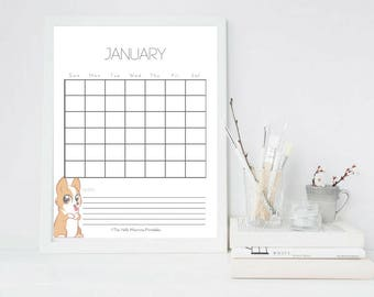 2018 Printable Monthly Corgi Calendar