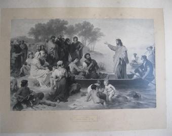 Christi predigt am see (Christ praying at a lake) lithography