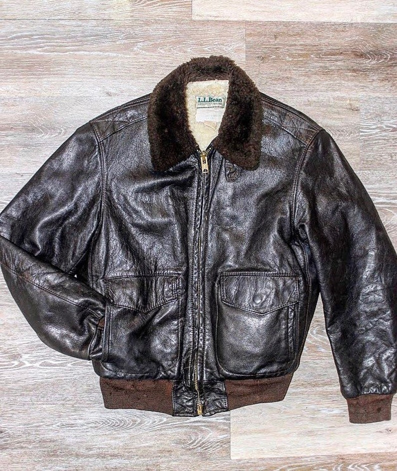 61477e53036 L.L. Bean Leather Bomber Jacket Flight Jacket Made in USA