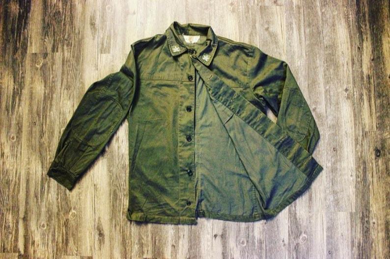 Vintage Military Buttondown \u2022 Olive Green \u2022 1960/'s \u2022 Large