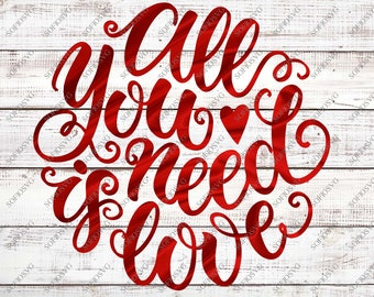 All you need is love svg | Etsy