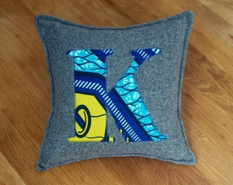 African Print, Alphabet Cushion, Letter Cushion, Personalised Cushion, Decorative Cushion, Initial Cushion - K (Cover Only)