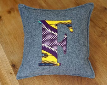 African Print, Alphabet Cushion, Letter Cushion, Personalised Cushion, Decorative Cushion, Initial Cushion - F (Cover Only)