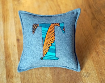 African Print, Alphabet Cushion, Letter Cushion, Personalised Cushion, Decorative Cushion, Initial Cushion - T (Cover Only)