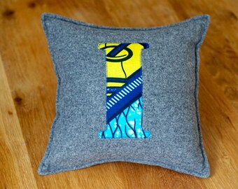 African Print, Alphabet Cushion, Letter Cushion, Personalised Cushion, Decorative Cushion, Initial Cushion - I (Cover only)