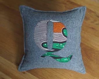 African Print, Alphabet Cushion, Letter Cushion, Personalised Cushion, Decorative Cushion, Initial Cushion - Q (Cover Only)