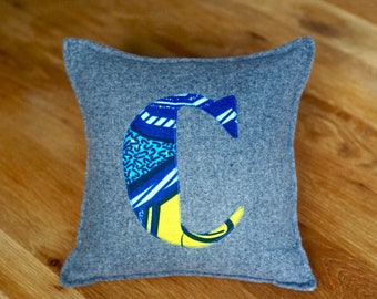 African Print, Alphabet Cushion, Letter Cushion, Personalised Cushion, Decorative Cushion, Initial Cushion - C (Cover Only)
