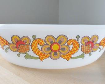 Schott Mainz Jenaer Glass  Retro Orange Floral casserole dish-no lid