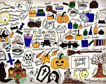 Halloween Self Care Illustration Digital Print At Home