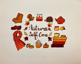 Autumn Self Care 2 ClipArt Watercolour Brush Pen and Ink