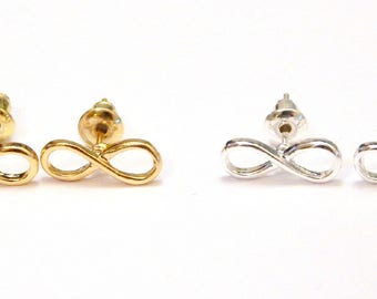 Infinity Stud Earrings, Infinity Earrings, Silver Stud Earrings, Minimalist Earrings, Infinity Jewelry, Geometric Earrings, Studs, Infinity