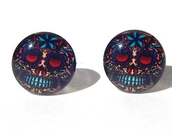 Sugar Skull Earrings, Sugar Skull Stud Earrings, Halloween Earrings, Day of the Dead Earrings, Skull Earrings, Sugar Skull Jewelry, Skulls