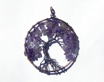 Amethyst Tree of Life Pendant, Amethyst Necklace, Tree of Life Necklace, Wire Wrapped Tree of Life Pendant, Wire Wrapped Amethyst, Amethyst