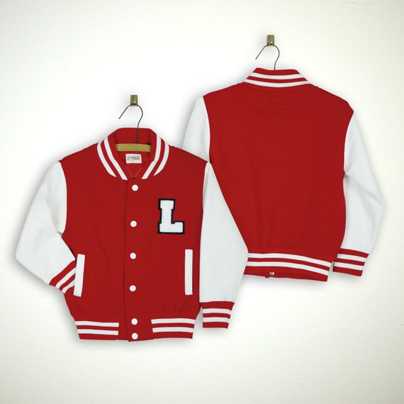 Personalized Kids Varsity Jacket Red White White Black Letter Etsy