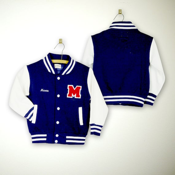 "2/"" Blue /& White Chenille Letter PATCH You Pick Letters Letterman Jacket patches"