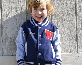 Personalized Kids Varsity Jacket NAVY/GREY + RED Letter