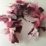 Upcycled festival funky Alice hair band made with colourful pink, white and purple scraps