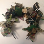 Upcycled festival funky Alice hair band made with colourful green, white and cream scraps