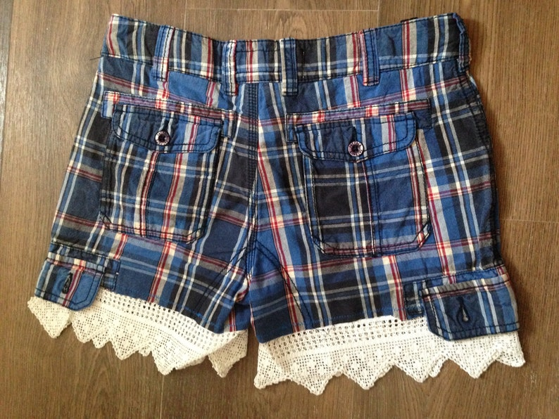 Upcycled blue striped hippy festival shorts with vintage lace
