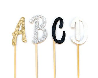 12 CT Script Letter Glitter Cupcake Topper Wedding Cupcake Topper Wedding Decoration Bridal Cupcake Topper Monogram Cupcake Topper Initial