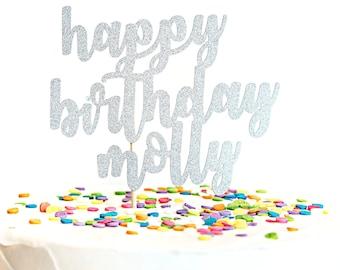 Personalized Happy Birthday Glitter Cake Topper First Birthday Cake Topper Pink & Gold Birthday Party 21st Birthday Cake Topper