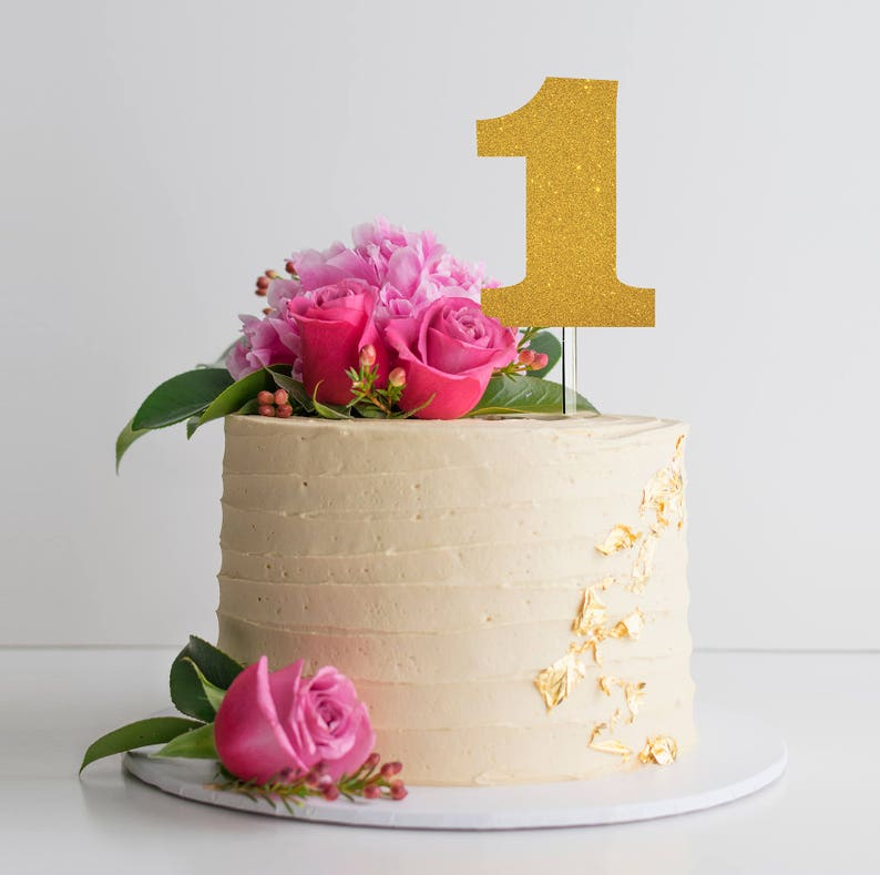 Glitter 1 Cake Topper Number One First Birthday Pink Gold