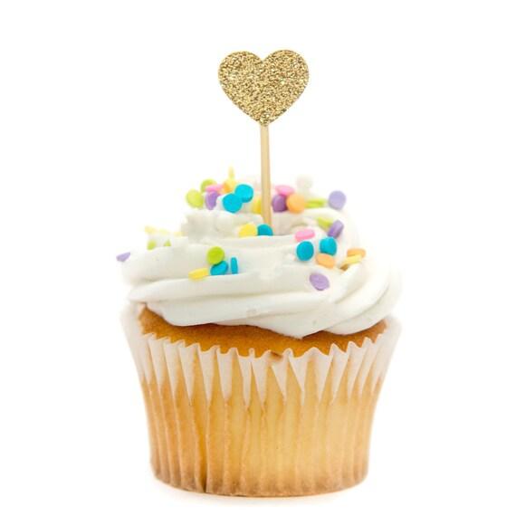 12 Ct Mini Herz Glitter Cupcake Topper Ersten Geburtstag Etsy