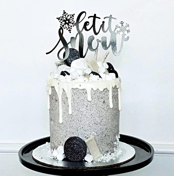 Let it Snow Cake Topper First Birthday Cake Topper Winter Birthday Let it Snow decoration Snow Cake Cupcake Let it Snow sign Christmas cake