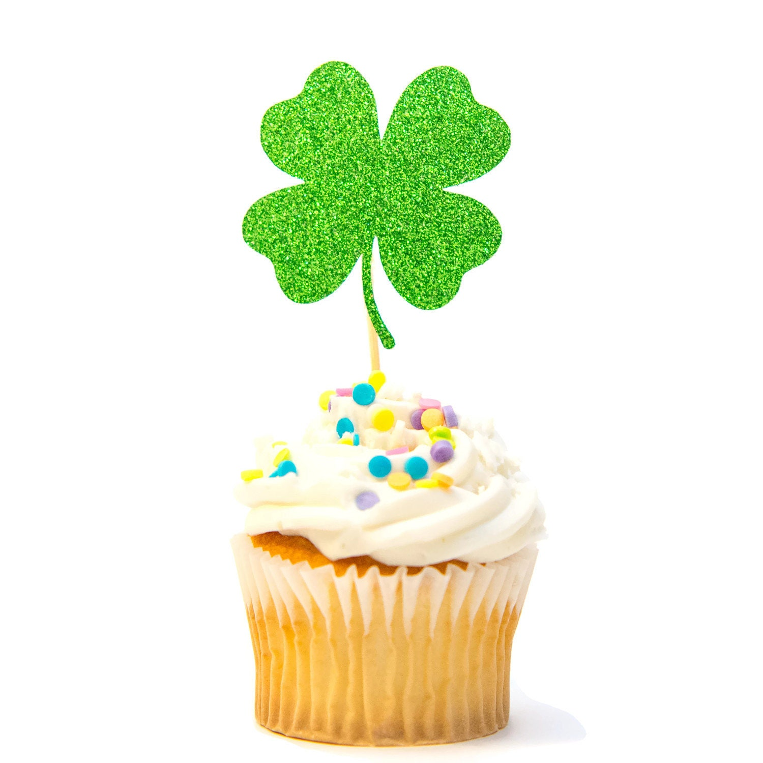 12 Ct Four Leaf Clover Cupcake Topper Glitter Clover Birthday Etsy