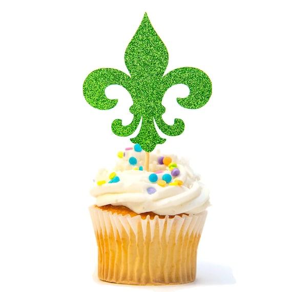 12 Ct Fleur De Lis Cupcake Topper Glitter Mardi Gras Birthday Etsy