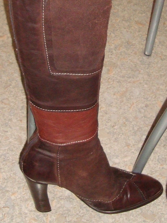 Vintage Brown Leather Patchwork Women's Boots 70 S