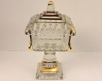Wedding Cake Box with Lid - Square Covered Compote - Candy Dish - Clear with Gold Trim - Jeannette Glass