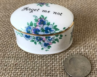 Vintage Porcelain Trinket Box, Crown Staffordshire Bone China, Forget Me Not, Blue Flowers, Jewelry Box, Trinket Dish, Pill Box