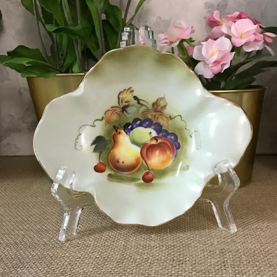 Lefton Green Trinket Dish, Green Heritage Fruit 6283, Made in Japan, Hand  Painted Collectible Plate, Small Bowl, Oval Bowl, Oval Dish