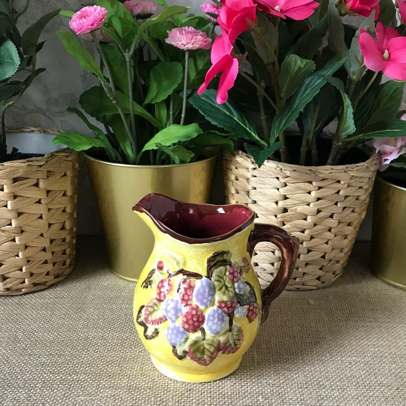 Antique English Majolica Pint Pitcher, Shorter and Son, Stoke on Trent,  England, Blackberry, Berry Pitcher, Vintage Creamer