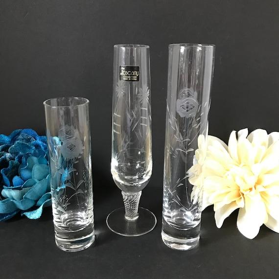 Etched Glass Bud Vases Set Of 3 Vintage Flower Vase Footed Etsy