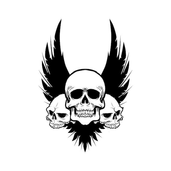 Cráneo alas archivos SVG corte de silueta Cricut diseños   Etsy