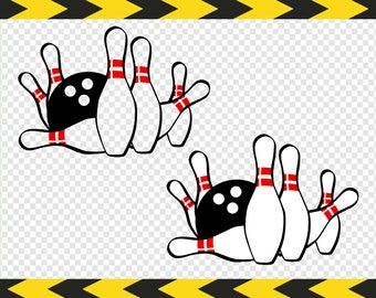Bowling SVG Clipart Clip art Bowling Pins and Ball Dxf Pdf Png files